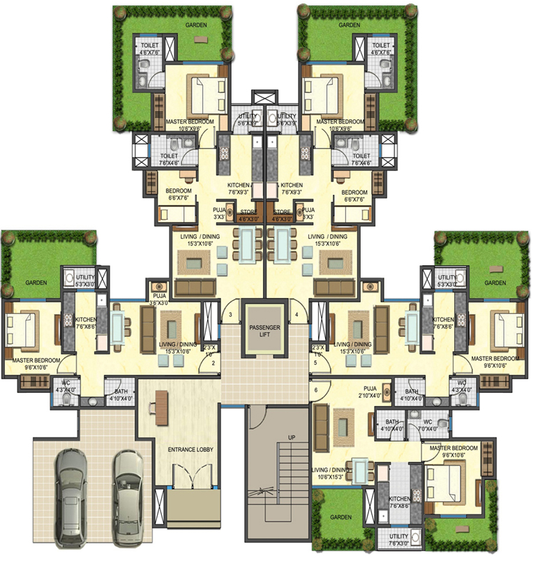 Downtown floor plans 1 2 bhk garden apartment for Backyard apartment floor plans