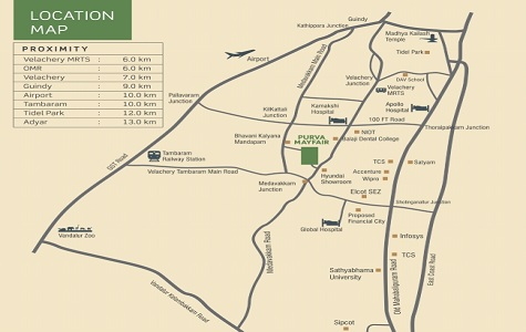 Purva Mayfair Location Map