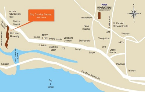 Purva Sky Condos Series I Location Map