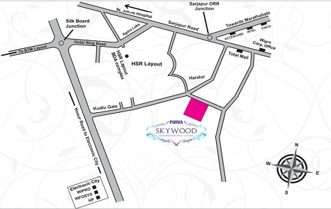 Purva Skywood Location Map