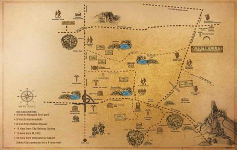 Sobha City Casa Paradiso Location Map