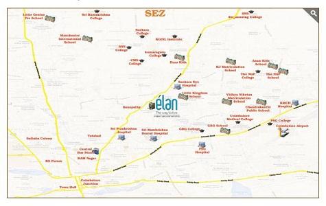 Sobha Elan Location Map