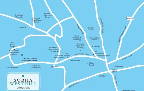 Sobha Westhill Location Map